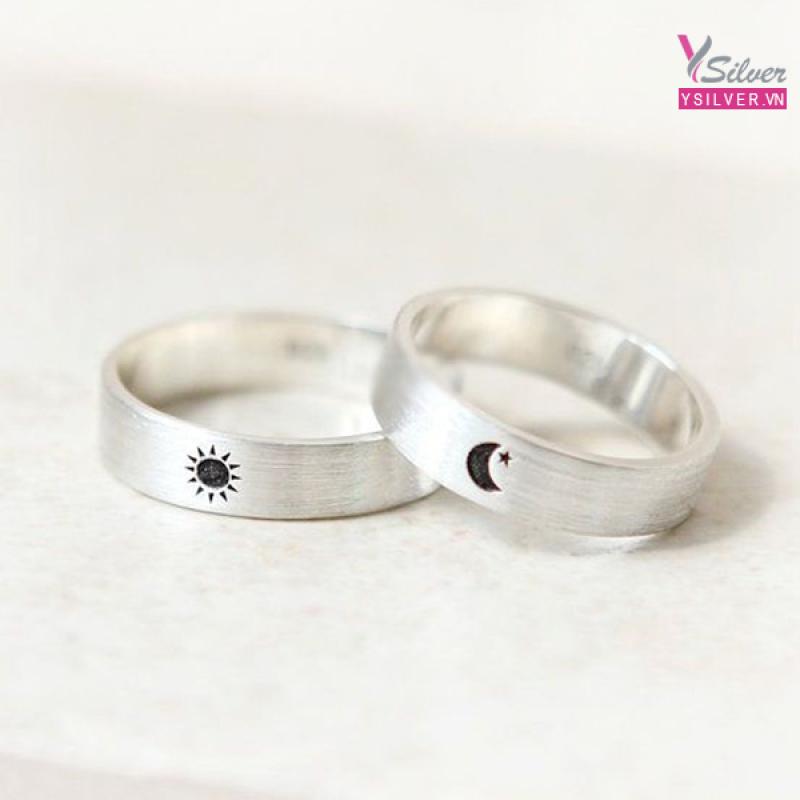 Nhẫn bạc cặp mặt trăng và mặt trời - Moon & Sun